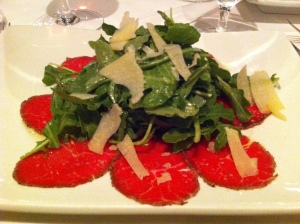Beef carpaccio appetizer, Madison's grill