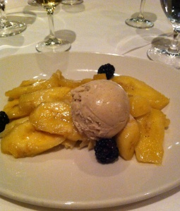 Dessert plate:  bananas, folded crepe, cinnamon ice cream, a few blackberries
