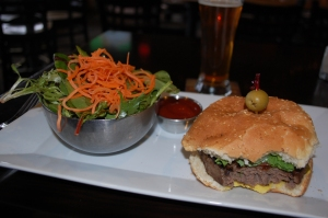 Bison burger and side salad at Jasper Brewing Company